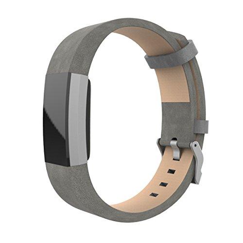 EloBeth für Fitbit Charge 2 Armband,mit Einzigartige Magnet-Verschluss, Milanaise Strap Armband Replacement Wrist Band Ersatzband Bügel für Fitbit Charge 2 Fitness tracker Keine Schnalle Benötigt (Leder 2 Grau)