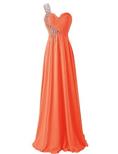 Dresstells, Robe de soirée de mariage/cérémonie/demoiselle d'honneur épaule asymétrique col en coeur pailletée Orange