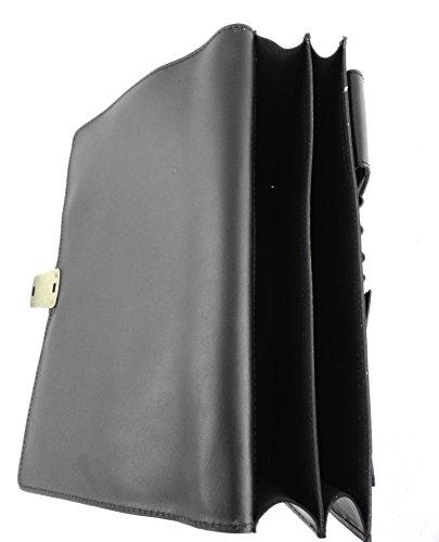 Zerimar. Sac porte-documents en cuir de haute qualité. Compartiments multiples. Mesures 37,5x9x29 cms. Couleur . Noir