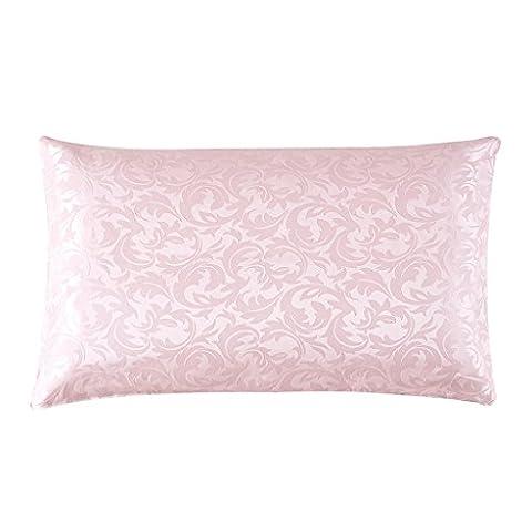 HYSENM Kissenbezug Maulbeerseide Jacquard Vintage Luxus Luftdurchlässig Kuschelig Hautfreundlich Haarpflege Umschlag Kissenhülle Silk Pillowcase Kopfkissenbezug, Rosa 50x70cm