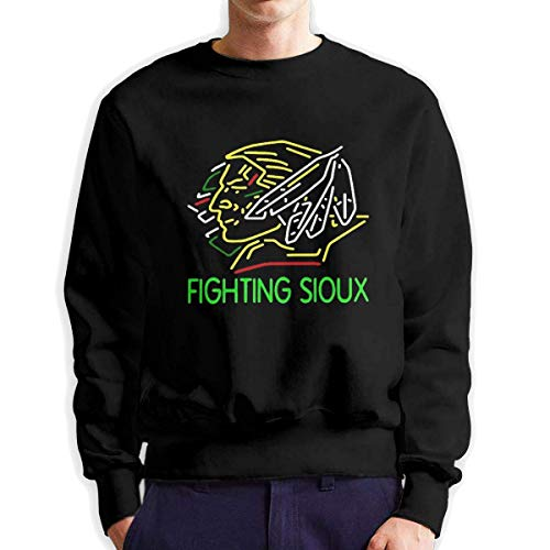 SASJOD Männer Hoodies Fighting Sioux Leisure Outdoor DeepHeather Men's Adult Crew Neck Sweatshirt Fashion Long Sleeve Pullover -