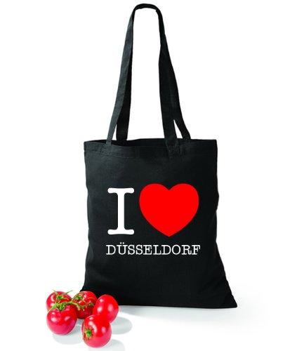 Artdiktat Baumwolltasche I love Düsseldorf Schwarz