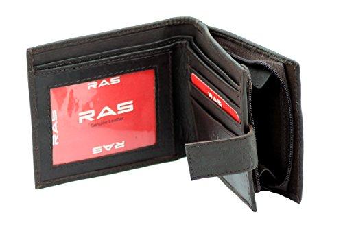 RAS® Herren Weiche Echte Leder Geld Brieftasche, Kreditkarten-Halter, ID-Karte Fenster & Eine Seite Sicherer Reißverschluss Münze Tasche #44 (Braun) Braun