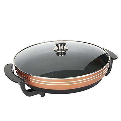 ZWZT Pot à eau électrique portable non-fumeur à fond plat Pot crêpe électrique portable ménager non-fumeur friteuse électrique à fond plat pan-style multi-fonctionnelle friteuse électrique antiadhésive , 36cm