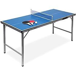 Relaxdays Mesa de ping pong, 150 x 67 x 71 cm, plegable, set con 2 raquetas y 3 pelotas, color azul