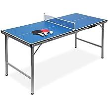 Relaxdays Klappbare Tischtennisplatte, HBT: 71 x 150 x 67 cm, Tragbar, Netz, Bälle, Schläger, Outdoor, MDF, Metall, Blau