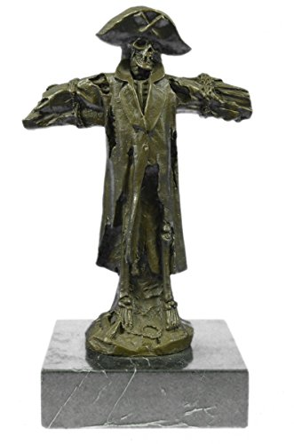 Selten Handmade Bronze Skulptur Bronze Statue zeichnetes Original Patou Chained Karibik Piraten-Skelett-Schädel -EUxnrq-008- Decor Sammler Geschenk
