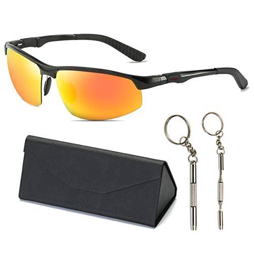 AXNYLHY Polarisierte Sport-Sonnenbrille Herren für Angeln Laufen Radfahren Fahren Ski Golf Sonnenbrille 100% UV-Schutz,Orange