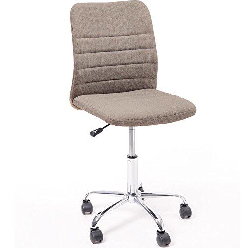 Bakaji sedia da ufficio scrivania girevole con schienale ergonomico modello luxury, seduta imbottita e altezza regolabile con ruote colore golden