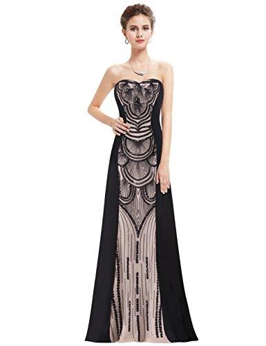 Ever Pretty Robe de Soiree Robe de bal Bustier Maxi Élegante Ornée des Paillettes 08853 Noir