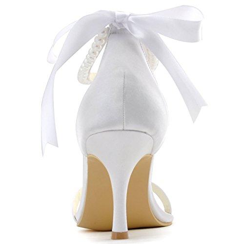 ElegantPark EP11053 Escarpins satin perle bride cheville Femme Chaussures de mariee mariage Blanc