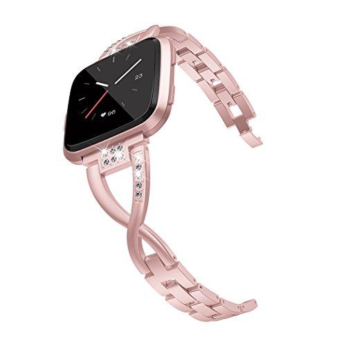 Wearlizer für Fitbit Versa Armband, Metall Ersatzarmband Armbänder Sport Band für Fitbit Versa Special Edition Klein Groß - Rosa