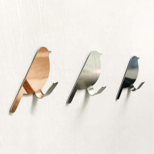 HPADR Haken 3 Stück/Set Von Vogel-förmigen Dekorativen Edelstahl Wandhängen Kleidung Mantel Schlüssel Aufhänger Haken Badezimmer