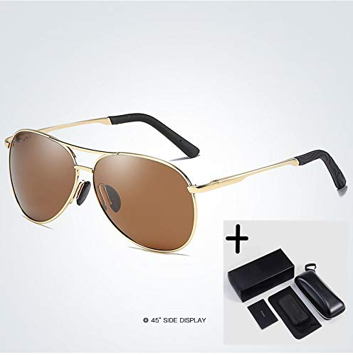 LKVNHP Herren Sonnenbrillen Polarized Mirror Lens Brillen Zubehör Driving Sun Glasses Shades Uv400   Gold-Tea