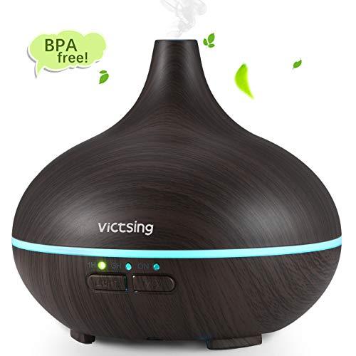 VicTsing Humidificador Aromaterapia Ultrasónico, Difusor de Aceites Esenciales 150ml, 7-Color LED, Seguro y Elegante, acrilonitrilo butadieno estireno, Negro