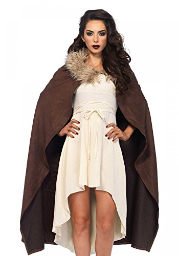 Braunes Krieger Cape mit Pelzkragen Leg Avenue GoT LARP Damen Herren Umhang Mittelalter (Mittelalter Krieger Umhang Erwachsene Kostüme)