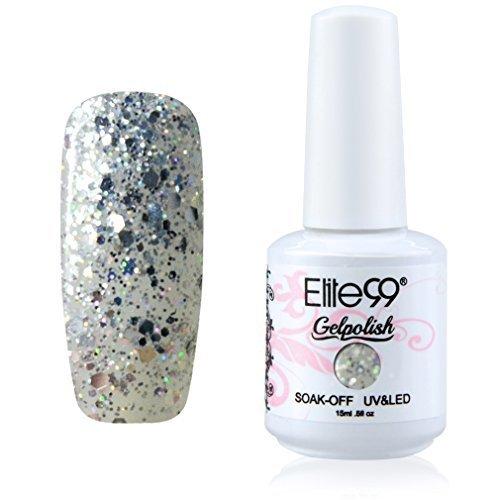 Elite99 Gelpolish Soak Off UV LED Gel Nail Polish Lacquer 15ml Glitter Silver (1853) by Elite99 GelPolish (Uv Polish Gelish Off Soak)