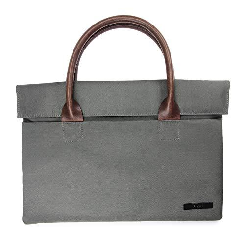 Urcover® universal Laptop-Bag bis 11 Zoll I mit Magnetverschluss, Außenfach & samtigem Innenfutter I strapazierfähige & reißfeste Handtasche in stylischem Metallic/Denim-Black Finish Khaki -
