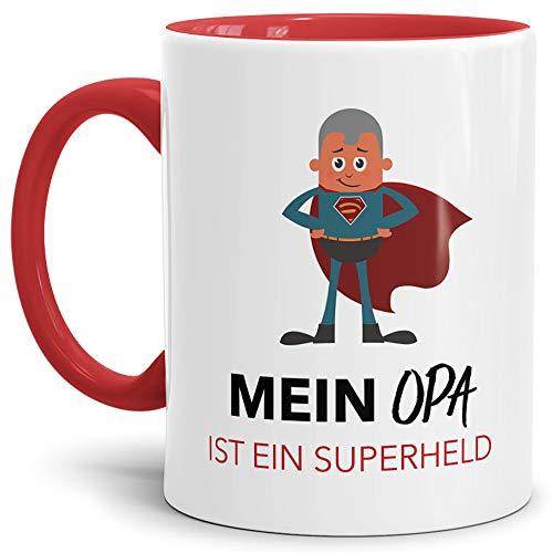 Tassendruck Spruch-Tasse Mein Opa ist Ein Superheld - Mug/Cup/Kaffeetasse/Becher/Lustig/Witzig/Familie/Geschenk-Idee/Fun Qualität - 25 Jahre Erfahrung Opa Innen & Henkel ()