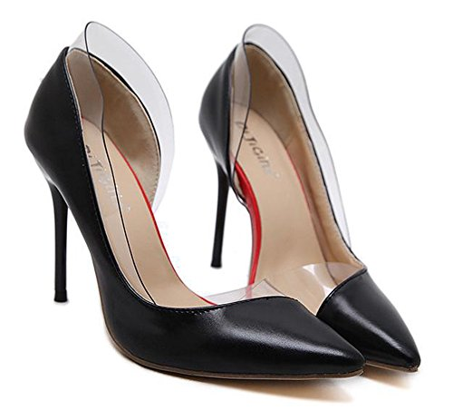 Aisun Damen Kunstleder Spitz Zehen Transparent D-Orsay Low Top Stiletto High Heel Pumps Schwarz