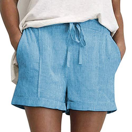 Patifia Shorts Damen, Mode Frauen Mädchen Teenager Sommer Bikini Solide Lace Up Baumwolle Und Leinen Taschen Lässige Kurze Hosen Strandhosen Lose Weiche stofhose kurz Hot Hose