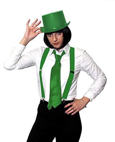 ILOVEFANCYDRESS Gangster KOSTÜM VERKLEIDUNGS ZUBEHÖR Set = 4 TEILIGES GRÜNES Set=SCHWARZEN BOB PERÜCKE+ HOSENTRÄGERN+Krawatte +Zylinder=Fasching Karneval Halloween Party
