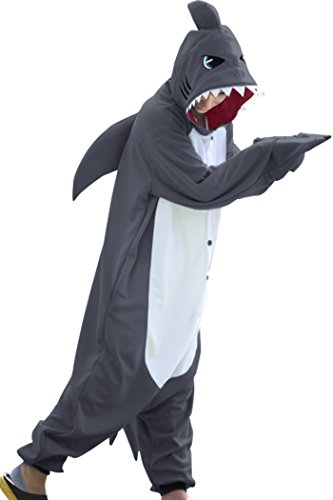 Kostüm Springen Herren - wotogold Herren Tier Shark Pyjamas Cosplay Kostüme Medium Grau