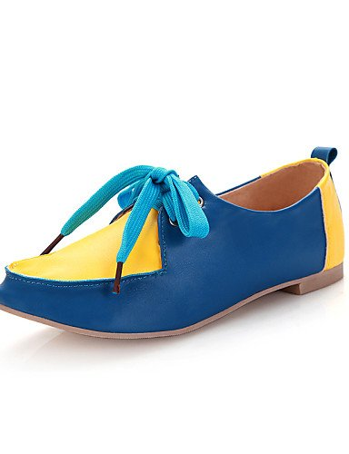 ZQ hug Scarpe Donna - Stivali - Casual - Punta arrotondata - Piatto - Finta pelle - Blu / Giallo / Rosa , pink-us8 / eu39 / uk6 / cn39 , pink-us8 / eu39 / uk6 / cn39 yellow-us7.5 / eu38 / uk5.5 / cn38