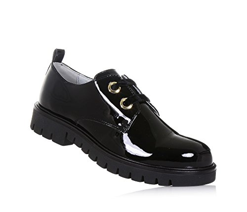 NERO GIARDINI - Chaussure à lacets noire en vernis, made in Italy, Fille, Filles, Femme