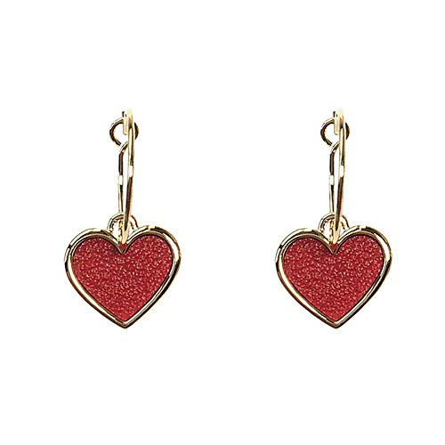 Wghz Damen süße süße Exquisite Ohrringe schwenkbare Liebe Ohrringe Tropfen Glasur Leder Herz Ohrringe Ohrringe Geschenke, rot, Ohrring -