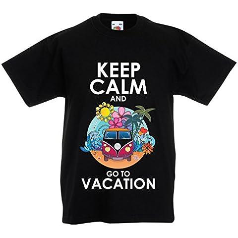 N4442K La camiseta de los niños Keep Calm and Go to Vacation