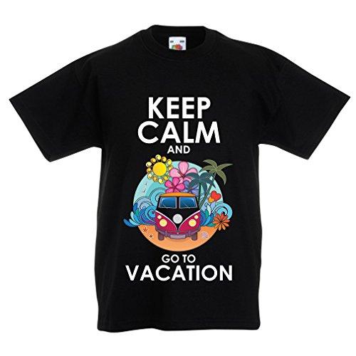 N4442K La camiseta de los niños Keep Calm and Go to Vacation (5-6 years Negro Multicolor)