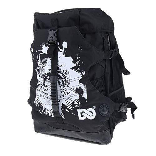 Baoblaze Mutifunktion Schlittschuhe Tasche Rollschuhetasche Polyester Rucksack für Männer, Frauen, Kinder - Schwarz A