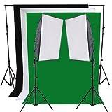 RPGT® Fotostudio Hintergrund-Set (4 Farben) + Fotolampe Softbox Set