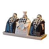 WSXN Hauptküchengewürzglas, Gewürzkasten, Keramischer Gewürzglasesatz, Öltopf, Restaurant Versiegelte Dose, Kreativer Chef