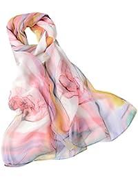 Transer ® Femelle Écharpes, Mode féminine Date écharpe style long souple  imprimé Wrap Mesdames Châle en mousseline de soie Echarpe… 5ed837b4da5