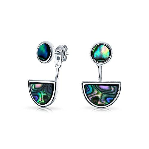 Geometrische Circle Disc Half Moon Abalone Die Muschel Vorne Hinten Ohrringe Mit Stud Abnehmbare Jacke Für Damen Silber