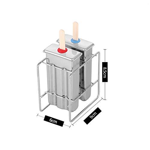 NgMik Haushalt 2er Pack Edelstahl Eisform EIS am Stiel EIS am Stiel Kreative Eiswürfelform DIY Eiswürfelform für Küche & Essen (Color : Flat Head, Size : 6 x9x8.5cm)