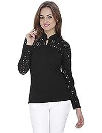 SVT ADA COLLECTIONS Poly Viscose Black Color Elegant TOP with Cutwork ON Sleeves n Shoulder (08602_Black_Medium)