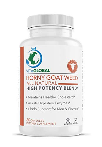 Horny Goat Weed | All Natural High Potency Blend | Maintains Healthy Cholesterol | Assists Digestive Enzymes | Libido Support Men & Women 60 Capsules