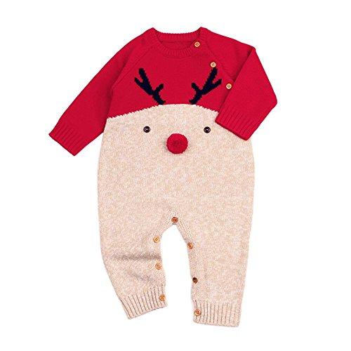 QUICKLYLY Peleles Navidad Bebé Niño Niña Crochet Punto Recién Infantil Largo Manga Mono Ropa (Rojo, 12~18 Meses(90))