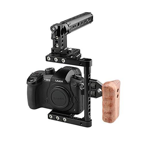 LFTS DSLR Kamera Käfig GH5 GH4 D7000 D80 Top Griff Holzgriff hart eloxiertes Aluminium Fotograf Filmmaker A99 A58 60D 70D 50D 40D 30D 6D 7D etc (Sony A99 Kamera)