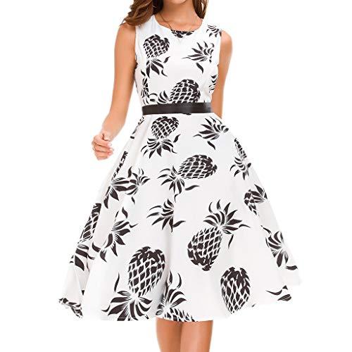 WooCo Knielange Kleider für Damen - Kariertes Kleid - Blumenkleid Ärmelloses Vintage-Freizeitkleid mit Ananas-Print - Damen Partykleider Sommerkleider(Weiß b,XXL)