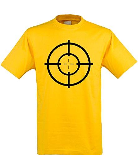 Klamottenkiste24 Herren T-Shirt, Zielscheibe/Target, gelb, Gr. - Ziel Der Polizei Kostüm