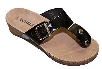 tongs sandale claquette femme verni compens es semelle int rieur velours de cuir 40 noir. Black Bedroom Furniture Sets. Home Design Ideas