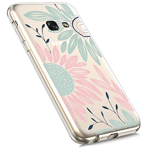 MoreChioce MoreChioce kompatibel mit Galaxy A3 2017 Hülle,kompatibel mit Samsung Galaxy A3 2017 Hülle Silikon Transparent, Cute Cartoon Durchsichtig Handyhülle TPU Kristall Flexible Bumper [Chrysantheme] EINWEG