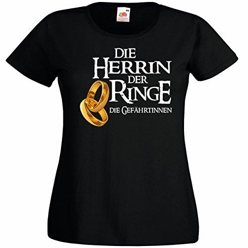 Shirtoo Damen T-Shirt Die Herrin der Ringe - Die Gefährtinnen für Den Junggesellenabschied (Frauen) in Schwarz, Größe M (Herr Lustig Ringe-t-shirts Der)