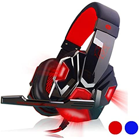 Gaming headset, surround stereo archetto delle cuffie usb 3,5 mm LED con microfono per (Plantronics Chiusa Orecchio Pc)