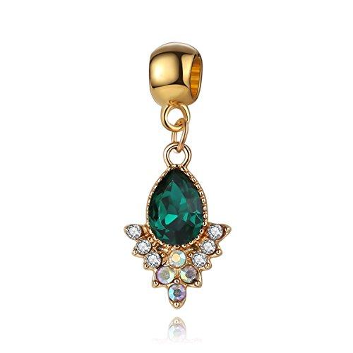 Yingyan Wassertropfen Grenn Clear Crystal Silber Charms Europäischen Perlen Für Anhänger Halskette Armbänder Armreif Schlangenkette Frauen Schmuck (Anhänger Crystal Crystal Clear)