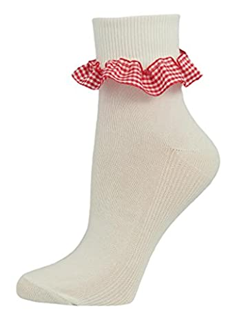 3 Pairs Girls Gingham Frill Cotton Ankle Socks. UK Made (9-12, Red)